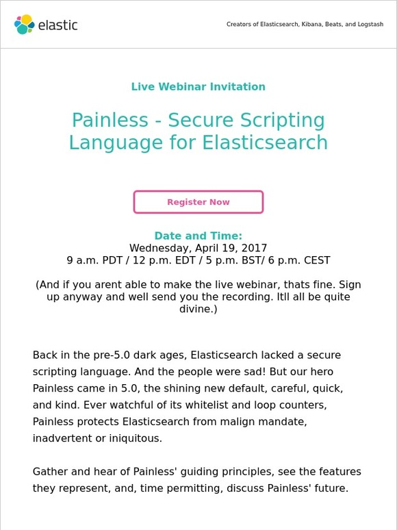 Elastic: Webinar Invitation: Painless - Secure Scripting