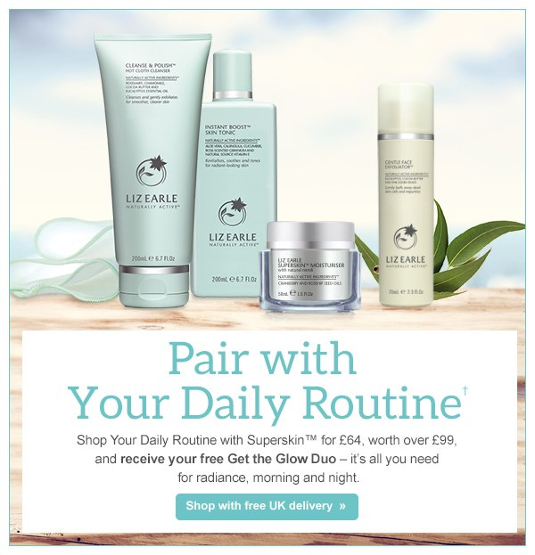 Free Gift Plus Save Over £10 on Cleanse, Tone and Moisturiser Routine at Liz Earle Purchase these skin care items for a reduced price from this online store .