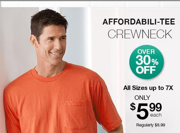 Active Joe Crewneck Affordabili-Tee Any Size $5.99