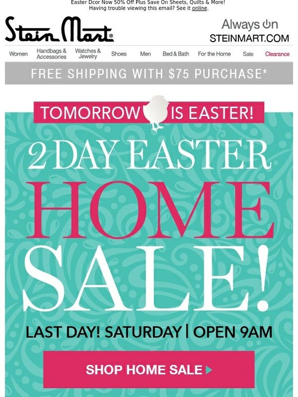 Enjoyable Stein Mart Easter Home Sale Today Hop To It For Savings Complete Home Design Collection Epsylindsey Bellcom