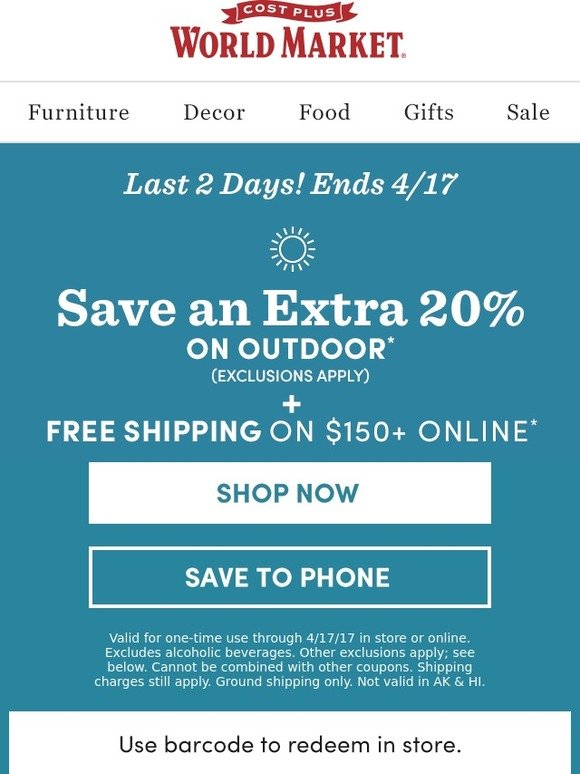 World market discount coupon