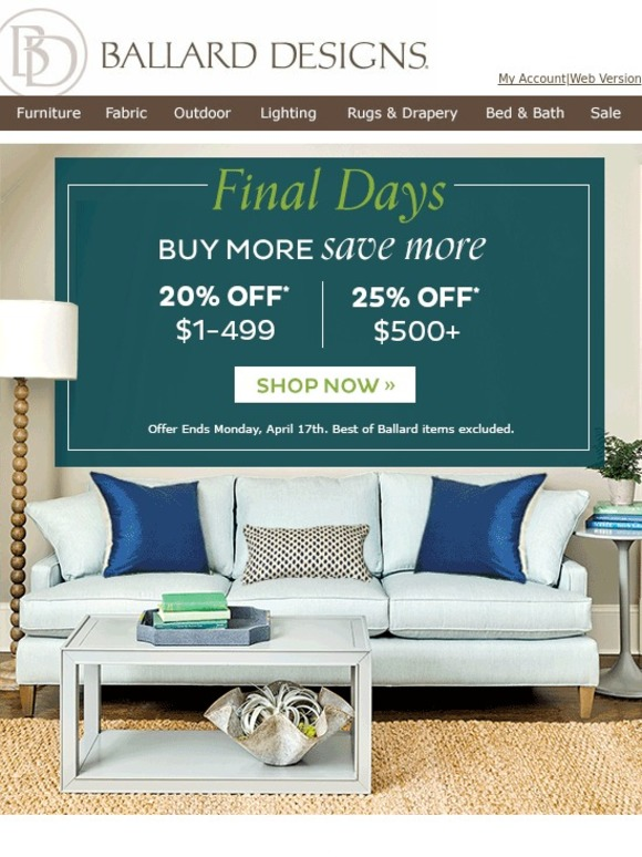 Ballard design coupon june 2018