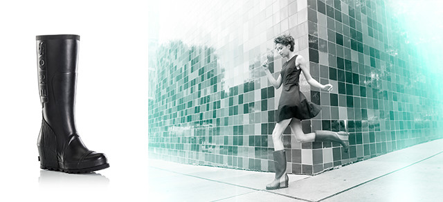 A picture of a tall rain boot. A young woman in rain boots skipping through the street.