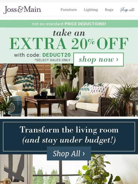 Joss main living room deals an extra 20 off don t for Joss and main contact