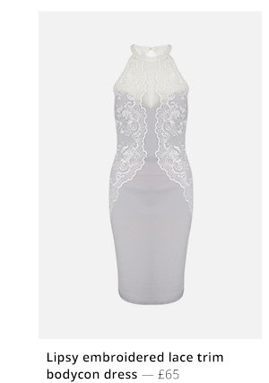 Lipsy embroidered lace trim bodycon dress
