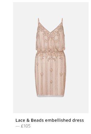 Lace and beads Embellishedd v dress