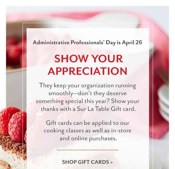 Show Your Appreciation - Shop Gift Cards