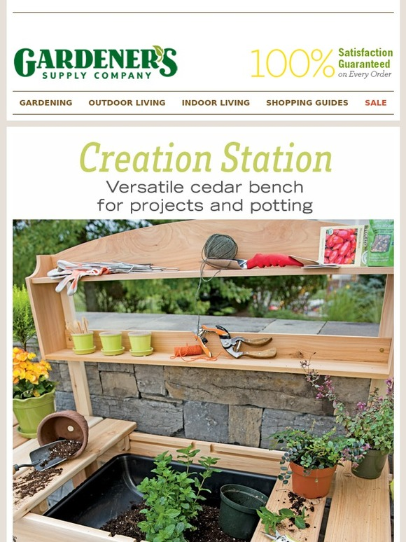 Gardener 39 s supply company our potting bench is a creation for Gardeners supply company