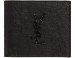 Saint Laurent - Black Croc Embossed Monogram Eastwest Wallet