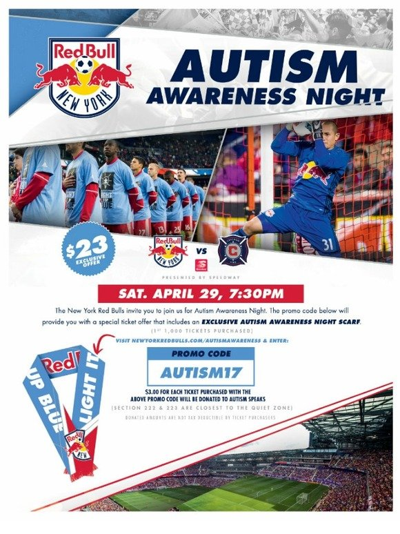 536bce981a0 Autism Speaks: Autism Awareness Night with the New York Red Bulls | Milled