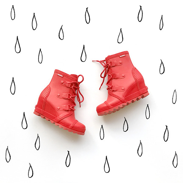An image of a red rain boot.