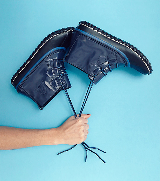 An image of blue rain boots.