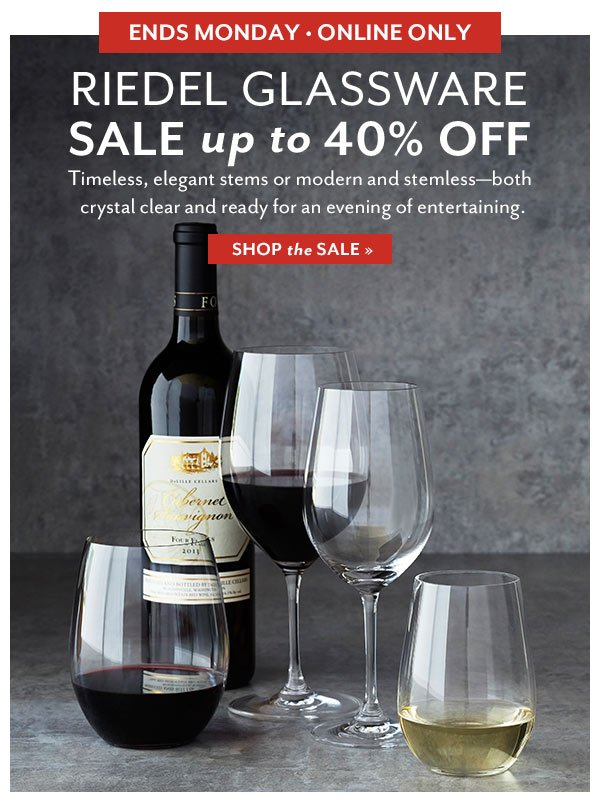 Riedel Glassware Sale - up to 40% OFF