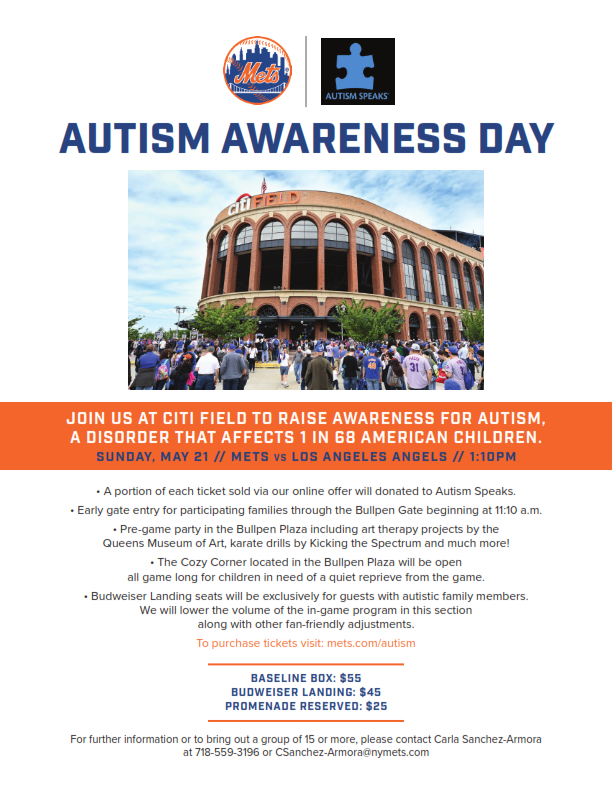 Autism Speaks Autism Awareness Day With The New York Mets