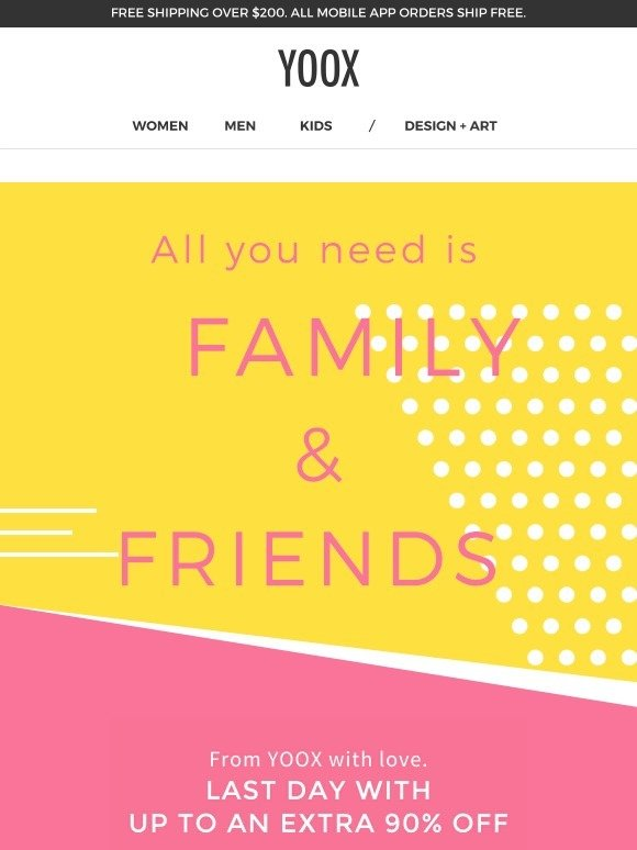 Yoox Last Day Family Amp Friends Up To An Extra 90 Off