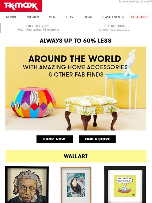 tk maxx unique home finds from unique worldwide locations. Black Bedroom Furniture Sets. Home Design Ideas
