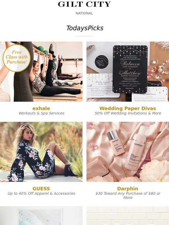 Gilt City Exhale Spa Fitness Wedding Paper Divas GUESS Plus Parisian Skincare Prints From Gray Malin Project Juice Cleanses More