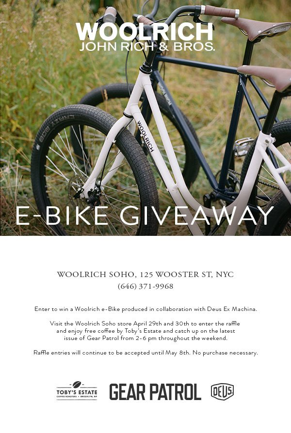 Woolrich: E-Bike Giveaway in NYC | Milled