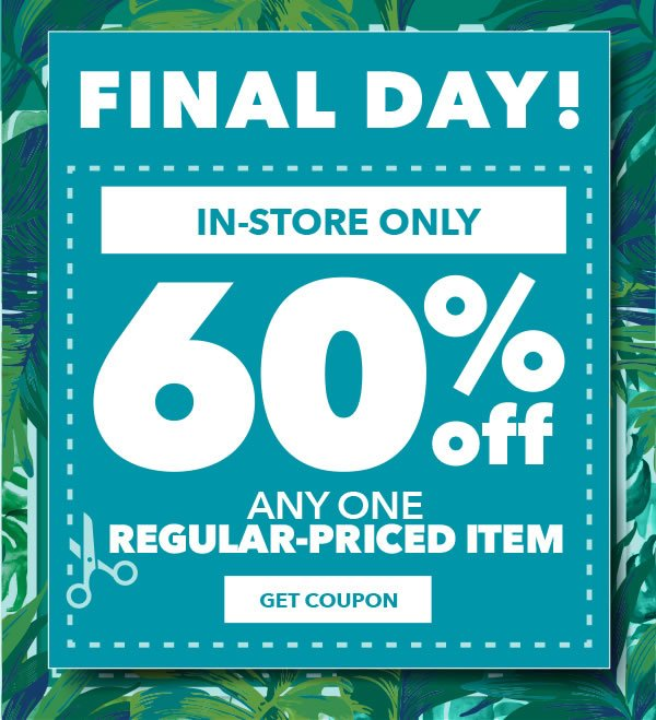 Jo ann fabric and craft store this ends today 60 off for Jo ann fabric and craft coupons