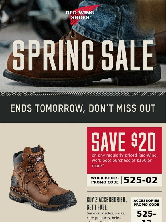 photo relating to Red Wings Boots Printable Coupons titled Crimson Wing Footwear: Sale Finishes Sunday - Redeem Your $20 Coupon