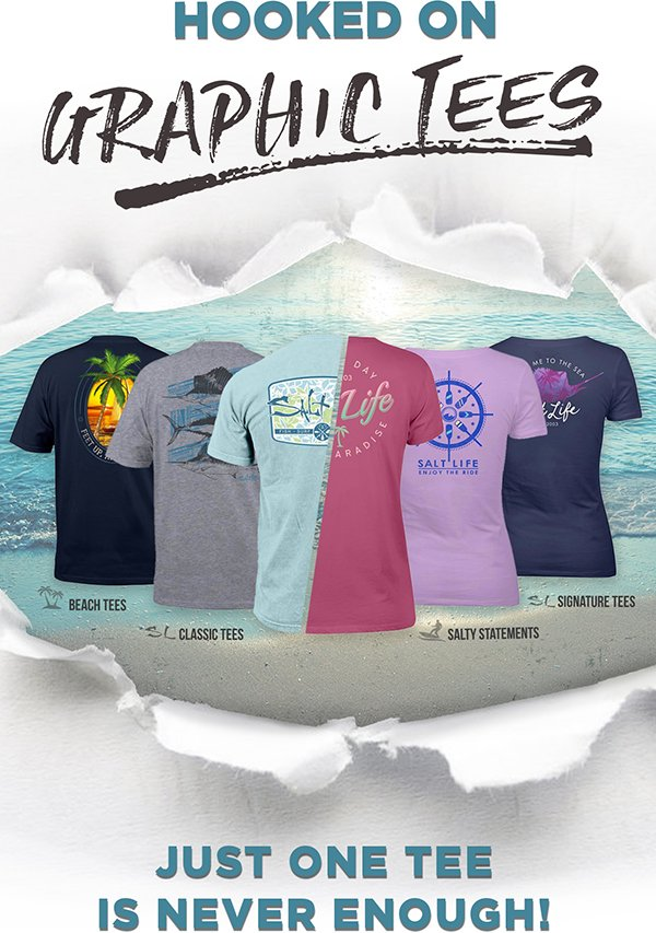 Get hooked on new and classic graphic tees. Swim on in!