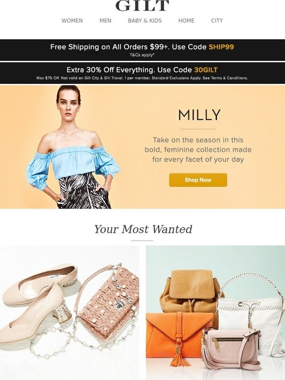 30f05073480 Gilt  Extra 30% Off Starts Now + MILLY, Miu Miu Accessories  Up to 50% Off,  MILLY Handbags, Italian Bedding Favorites  Up to 75% Off and More Start  Today at ...