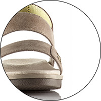 A close up image of a sandal profile.