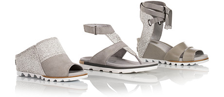 Three grey sandals.