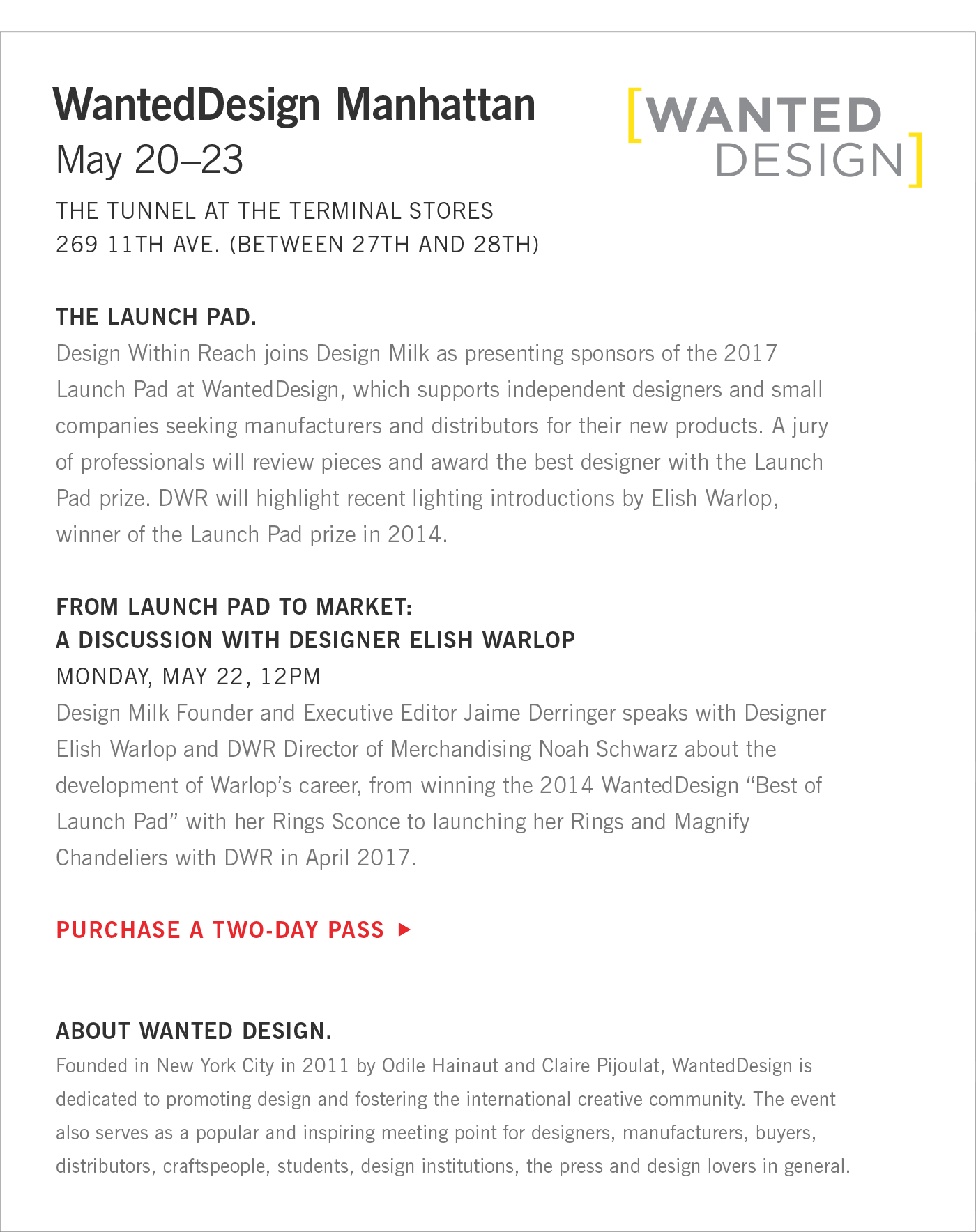 Purchase a Two Day Pass to WantedDesign Manhattan