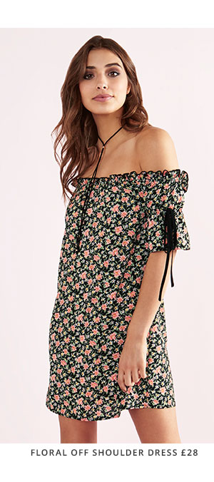 FASHION UNION FLORAL OFF SHOULDER DRESS