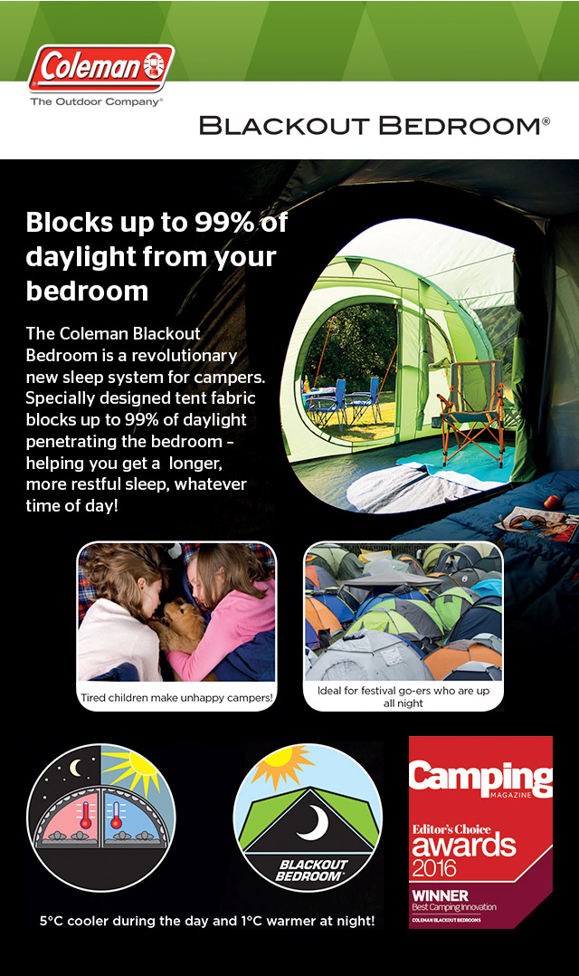 Coleman Blackout Bedroom - blocks up to 99% of daylight from your bedroom