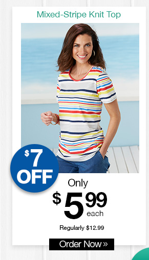 Shop Mixed-Stripe Short Sleeve Knit Top