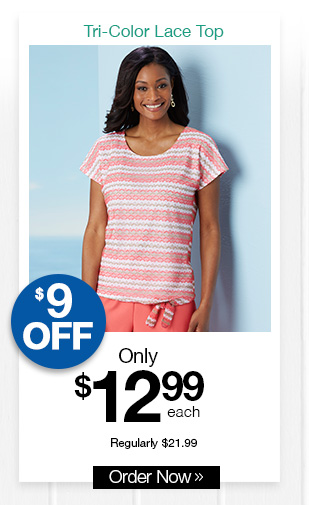 Shop Salon Studio Tri-Color Lace Top