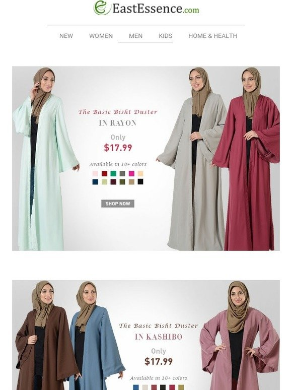 Ihram Kids For Sale Dubai: East Essence: $17.99 Bisht Dusters In Rayon, Crepe And