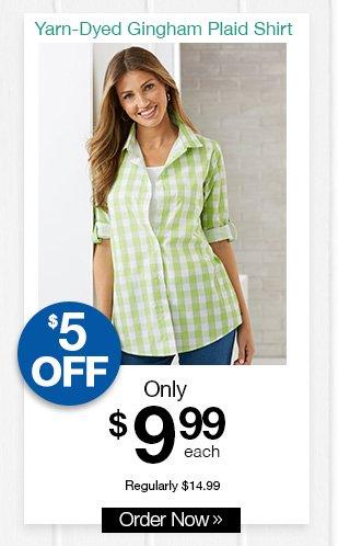 Shop Yarn-Dyed Gingham Plaid Shirt
