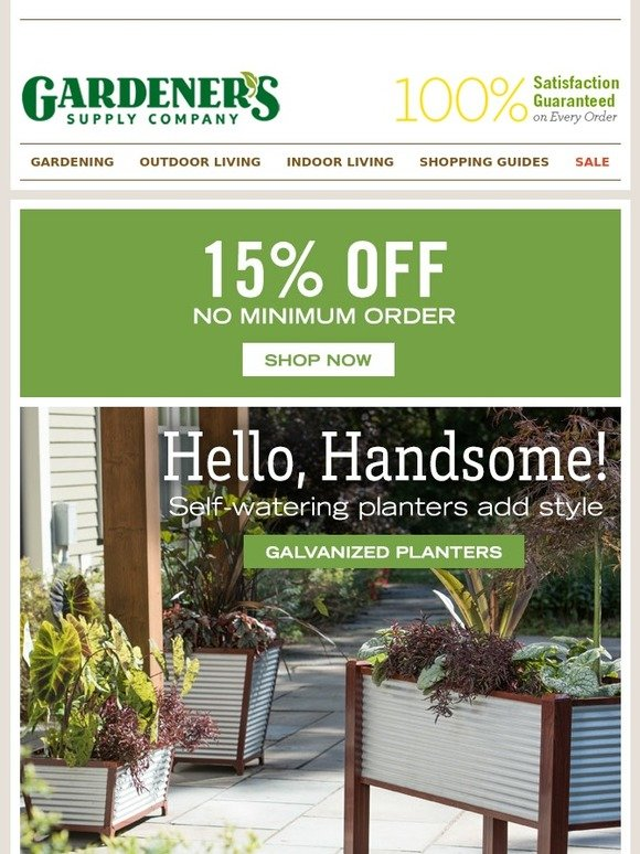 Gardener 39 s supply company 15 off your entire order for Gardeners supply company