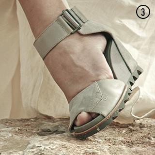 An ankle strap sandal.