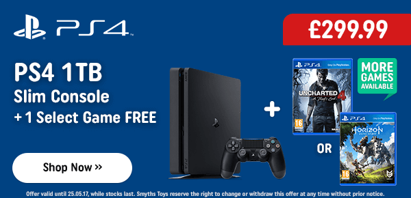 PS4 1TB Slim Console & 1 Select Game