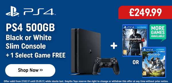 PS4 500GB Slim Console & 1 Select Game