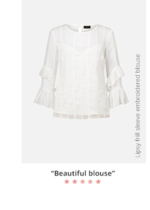 LIPSY FRILL SLEEVE EMBROIDERED BLOUSE