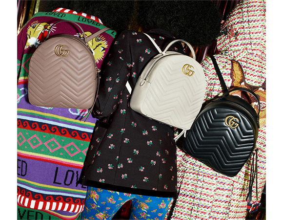 f7a675a53285 A new shape for the GG Marmont bag collection for Pre-Fall 2017, softly  structured in matelassé chevron quilted leather with GG hardware.