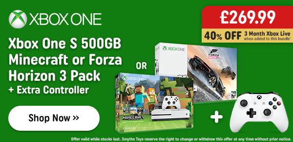 Xbox One S 500GB FIFA 17 or Forza Horizon 3 Pack & Extra Controller