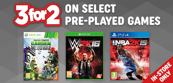 3 for 2 on Select Pre-Played Video Games In-Store