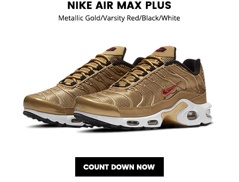 "5b6071fc3a9ffa Lady Foot Locker  Nike Air Max Plus ""Metallic Gold   – available ..."
