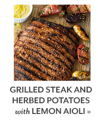 Grilled Steak and Herbed Potatoes with Lemon Aioli