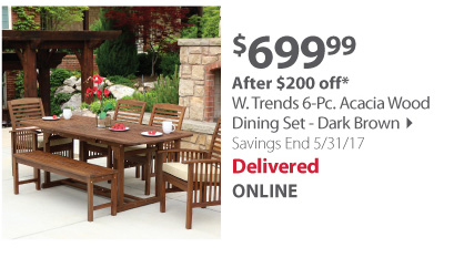 W. Trands 6-pc Acadia Wood Dining Set - Dark brown