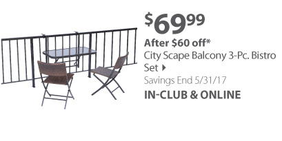 City Scape Balcony 3-pc. Bistro Set