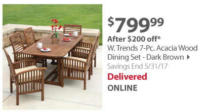 W. Trands 7-pc Acadia Wood Dining Set - Dark brown