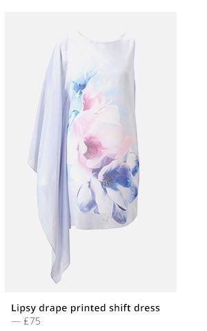 LIPSY DRAPE PRINTED SHIFT DRESS