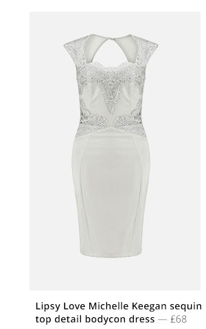 LIPSY LOVE MICHELLE KEEGAN SEQUIN TOP DETAIL BODYCON DRESS